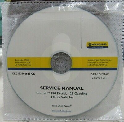 New Holland Rustler 120 Diesel125 Gas Utility Vehicles Service Manual On Cd