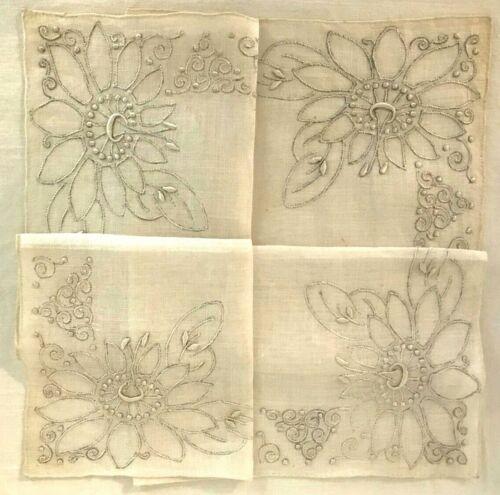 Vintage Antique Madeira Hand Made Handkerchief - Stylized Lotus Flower, Filigre