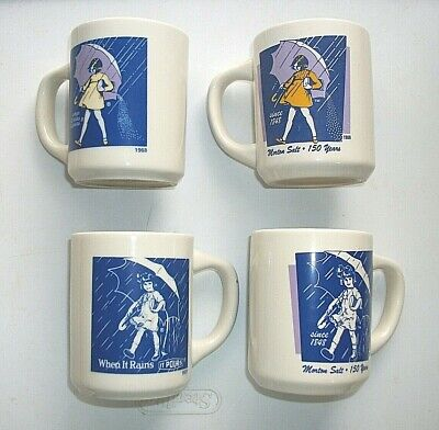 Vintage 1968 4 Coffee/Tea Cups/Mugs When it Rain it Pour Morton Salt Umbrella Gi