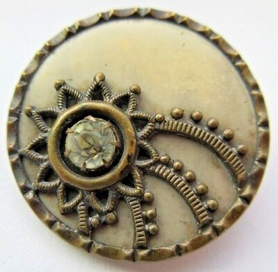 Excellent LARGE Antique~ Vtg Victorian Metal & Celluloid BUTTON GLASS Paste (J)