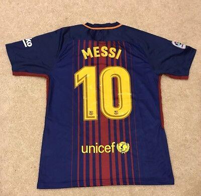 Nwt   Barcelona Fc 17 18 Season Lionel Messi Mens Stadium Jersey Size Large