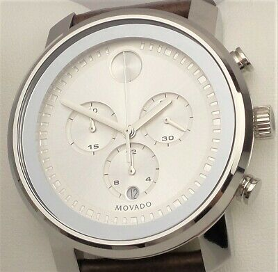MOVADO BOLD 3600465 Men's Chronograph Watch Silver Dial Leather Band $650 NEW