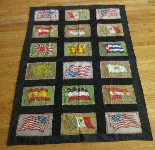 """Antique Tobacco Cigar Felt World Flag Quilt Blanket Vintage 42""""x 61"""" ~ 1900"""