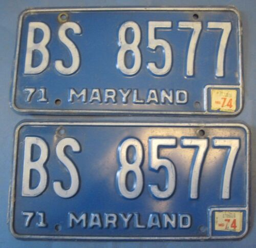 1974 Maryland License Plates matched pair