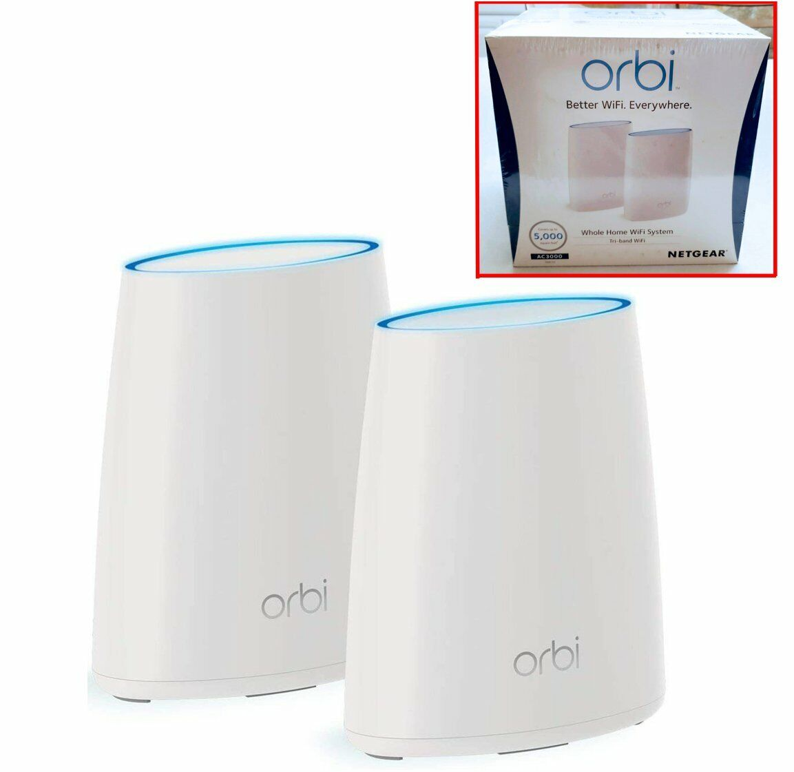 NEW NETGEAR ORBI AC3000 TRI-BAND WHOLE HOME WiFi ROUTER SYSTEM RBK50 Pack Of 2 - $239.97