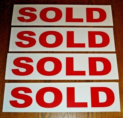4 Sold 6 X 24 Real Estate Sign Riders 2 Sided Outdoor New Free Ship
