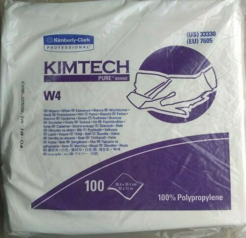 """Kimberly Clark KIMTECH 33330 Pure W4 Dry Wipers 12""""X12"""" -- Pack of 100 Wipers"""