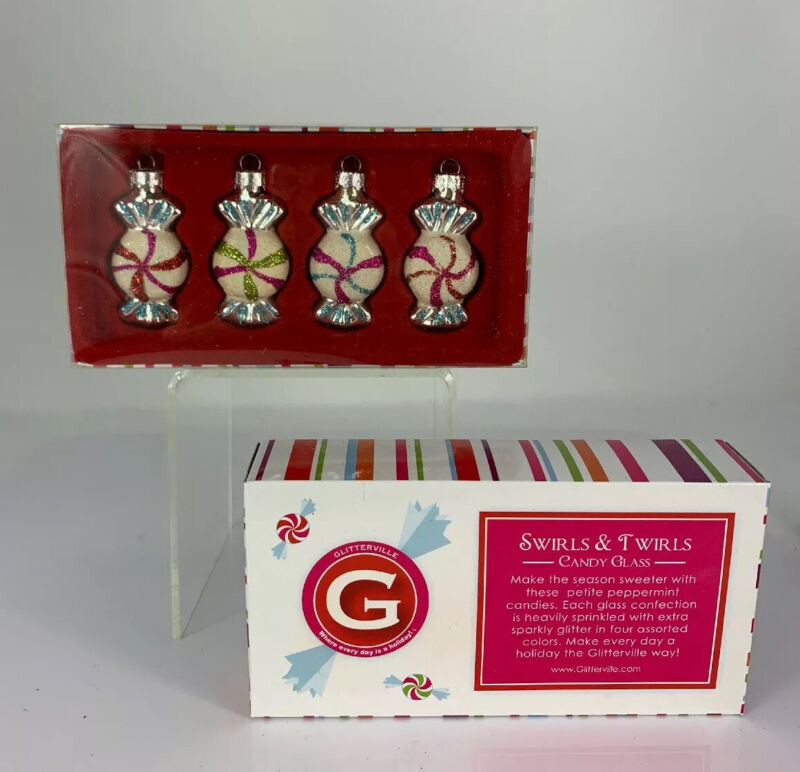 Glitterville Boxed Peppermint Candy Christmas Ornaments, Set Of 4