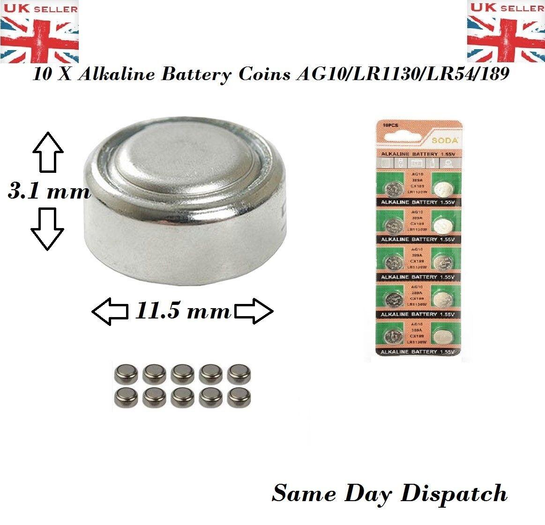 10 X pcs AG10 GP189 SR54 LR1130 L1131 1.5V Alkaline Button Cell Battery soda UK