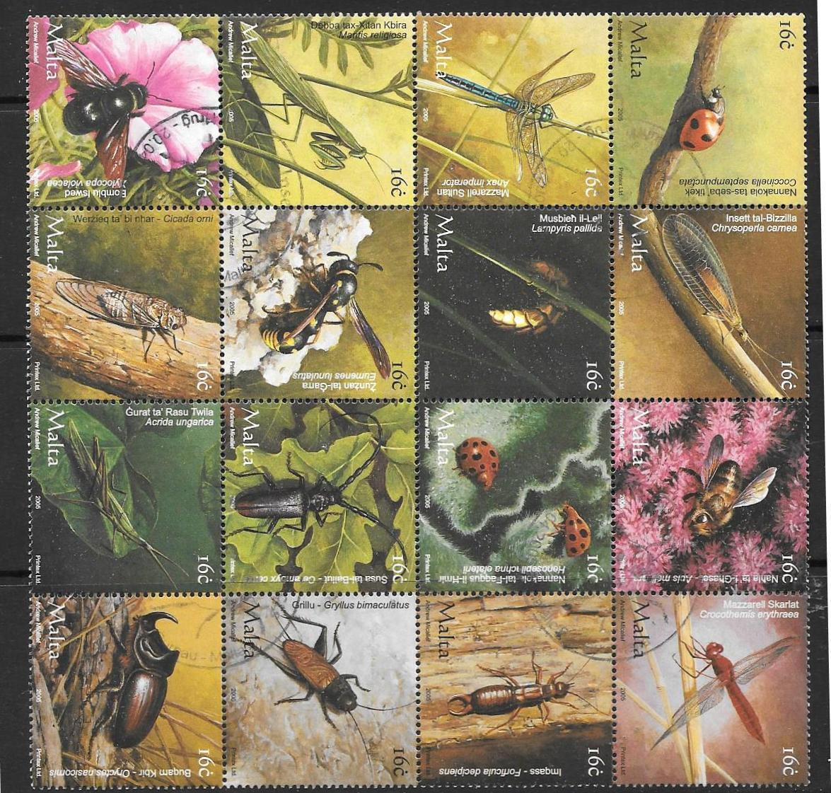 MALTA SG1412/27 2005 INSECTS FINE USED