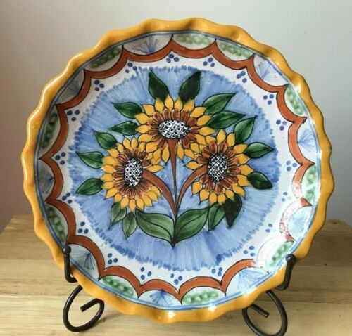 "TALAVERA LA CORONA MEXICO 10.25"" Ruffled Rim Sunflowers Plate - GUC"