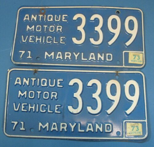 1973 Maryland License Plates matched pair Antique Motor Vehicle