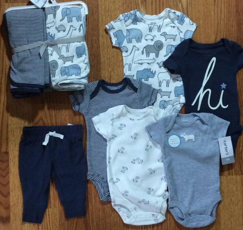 Carters Long Sleeve Boys 7 Piece Blue Animal Print  Shower Gift Set NEWBORN
