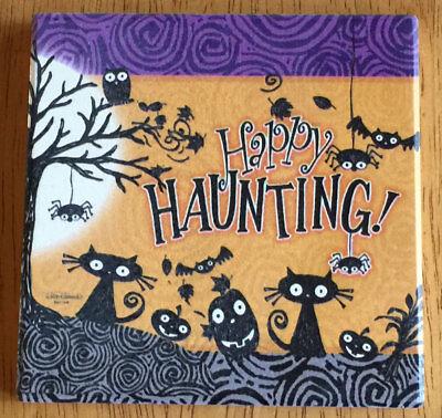 Happy Haunting ~ Halloween Black Cats Pumpkins Absorbent Stoneware Coasters Set