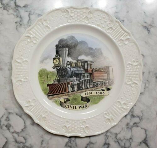 "Vintage 1950 Delano Studios Plate Civil War Train Locomotive 1860s Railroad 10"""
