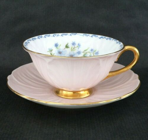 Vintage SHELLEY Pink OLEANDER Shape Cup & Saucer with BLUE ROCK Flowers & Gold