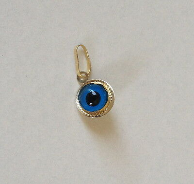 "Evil Eye 14k Yellow Gold solid Charm Pendant round 9mm from Greece ""mataki"""
