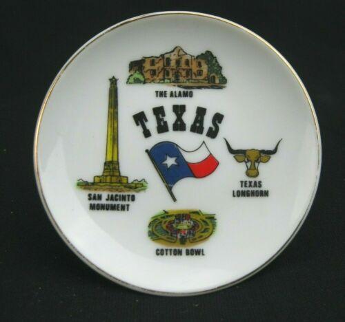 "Vtg Texas Souvenir Mini Plate Ceramic 4"" Alamo Longhorn San Jacinto Cotton Bowl"