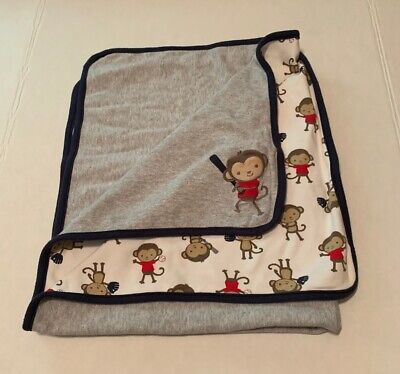 Carters Monkey Baseball Play Gray Blue Receiving Blanket 24