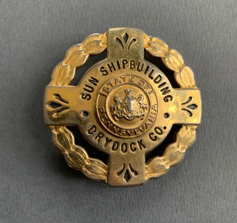 Sun Ship Shipbuilding Drydock Company Chester Pennsylvania WWII guard badge
