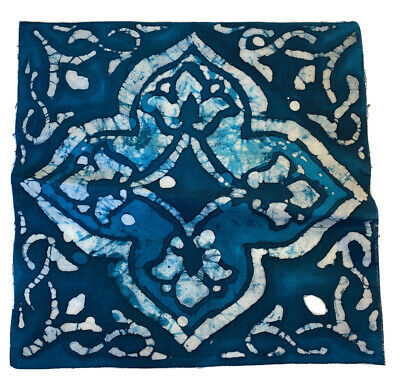 Handmade Batik Islamic Tile Design Cotton Art Blue White