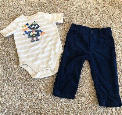 12 Month Baby Boy Infant Outfit Garanimals Robot Bodysuit Cat & Jack Pants