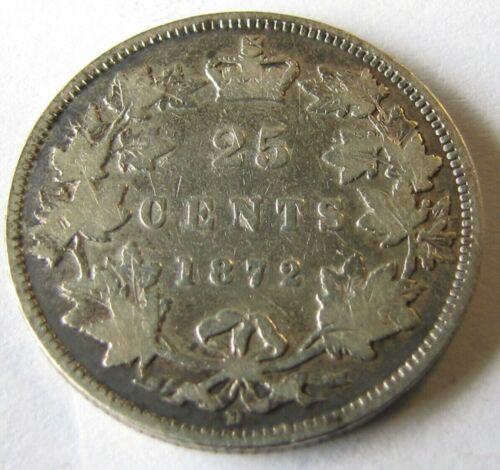 1872 H  CANADA  QUEEN VICTORIA  25 CENTS SILVER QUARTER