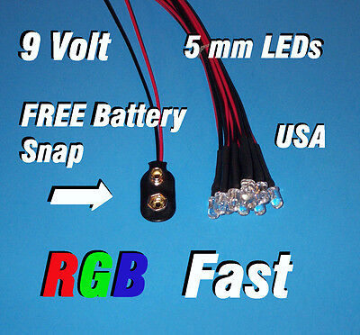 10 X Led - 5mm Pre Wired Leds 9 Volt Rgb Fast Changing Redgreenblue 9v Usa