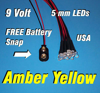 10 X Led - 5mm Pre Wired Leds 9 Volt Amber Yellow Prewired 9v