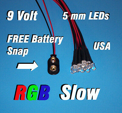 10 X Led - 5mm Pre Wired Leds 9 Volt Rgb Slow Changing Redgreenblue 9v Usa