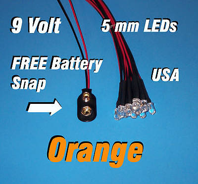 10 X Led - 5mm Pre Wired Leds 9 Volt Orange 9v Usa