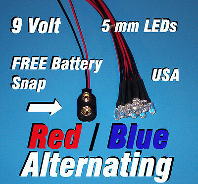 10 X Led - 5mm Pre Wired Leds 9 Volt Red Blue Alternating 9v Usa