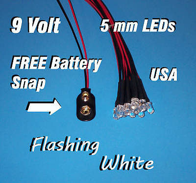 10 Flashing Leds 5mm Pre Wired 9 Volt White 9v Blink Prewired Blinking Flash