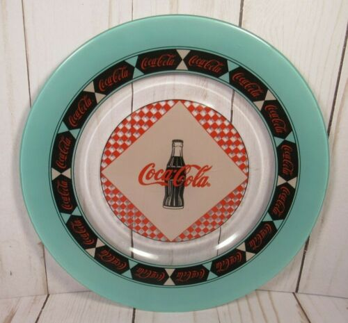 COCA COLA GLASS PLATE, 10 INCHES ROUND, 1999, TURQUOISE & RED, NOSTALGIC, BAR