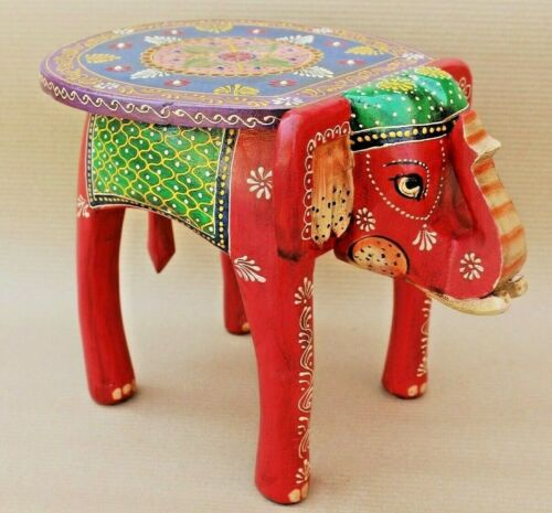 Wooden Stool Elephant Shape Handmade Table Decor Indian Hand Painted Decorative