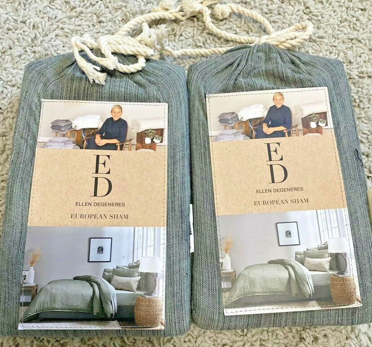 Ellen Degeneres Belmont Cotton Frayed Euro Sham Set of 2 Jade Green NIP Bedding