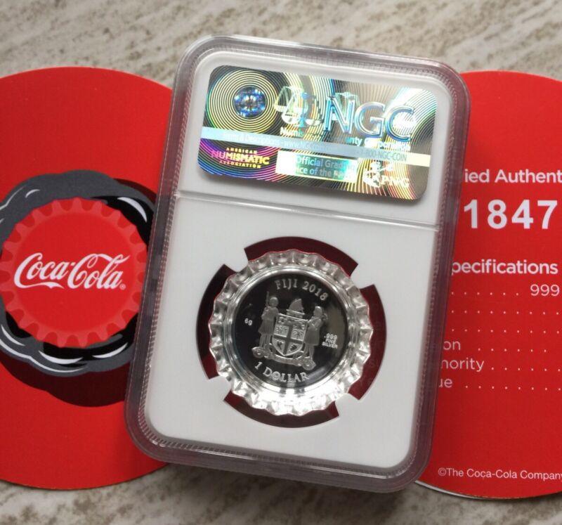 NGC PF69 2018 Fiji Coca-Cola Bottle Cap $1 6g Silver Proof Coin Coca Cola