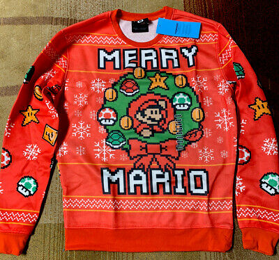 Nintendo Super Mario Bros Merry Mario Ugly Christmas Holiday Sweater Size Medium