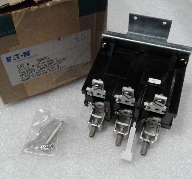 BA43A Eaton Thermal Overload Relay 3 Pole Nema Size 4 NEW!!