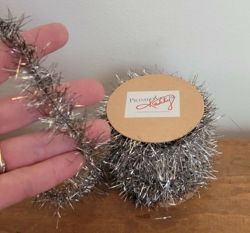 New - 12 ft Silver Tinsel Garland ~ Vintage Style Christmas ~ Feather Trees