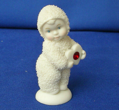 """VTG Dept 56 Snowbabies Red Heart Zircon Figurine 3"""" Valentine July Birthday"""