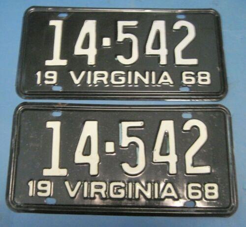 1968 Virginia License Plates Matched Pair nice original pair DMV clear