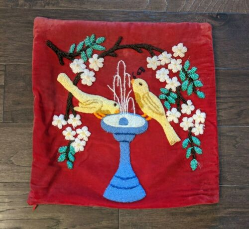 VTG Birds Bird Bath Floral Wool Punch Red Velvet Chenille Stumpwork Pillow Cover