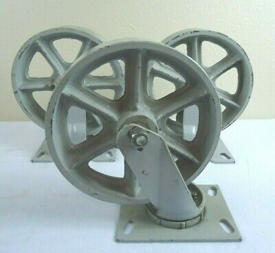 3 - 10 Inch Fairbanks Co. N-22-8 Cast Iron Cart Wheels - Vintage Usa Made -