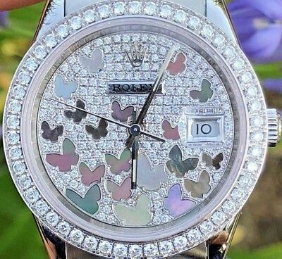 Rolex 36mm Datejust 116200 Diamond Band Bezel 18K White Gold Butterfly 278289