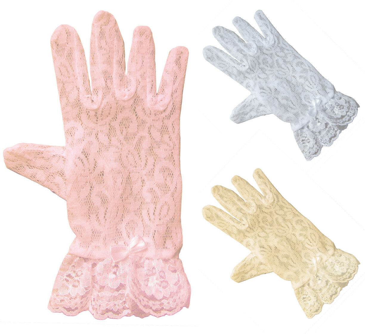 Lace Gloves for Girls in Wrist Length Clothing, Shoes & Accessories