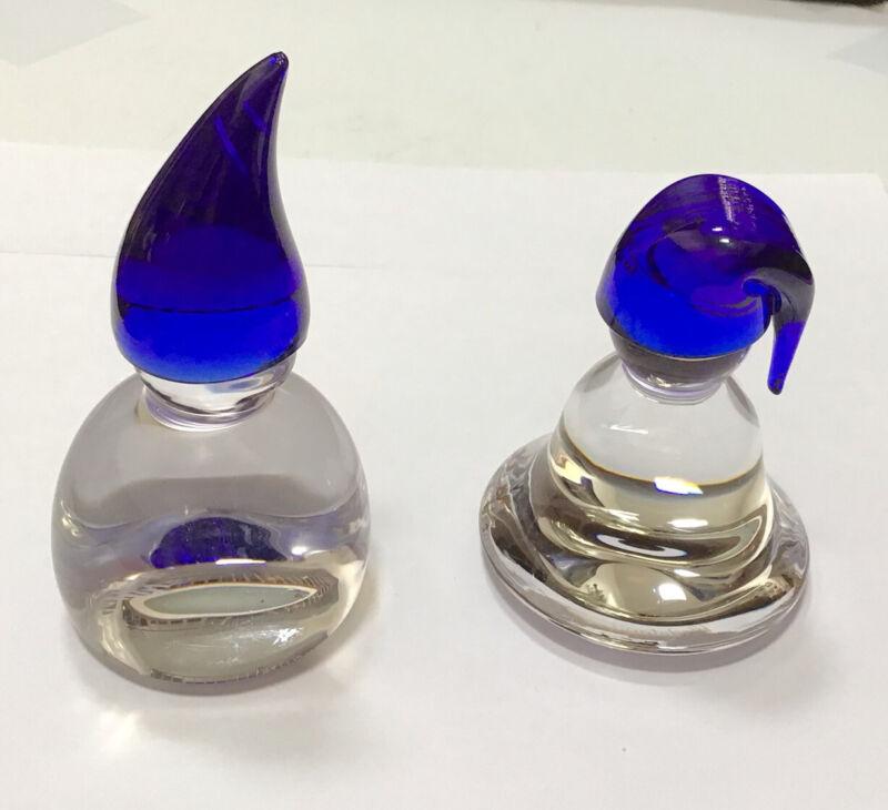 Lena Hansson Hadeland Glassverk Set Of 2 Nisse Gnomes Blue Caps