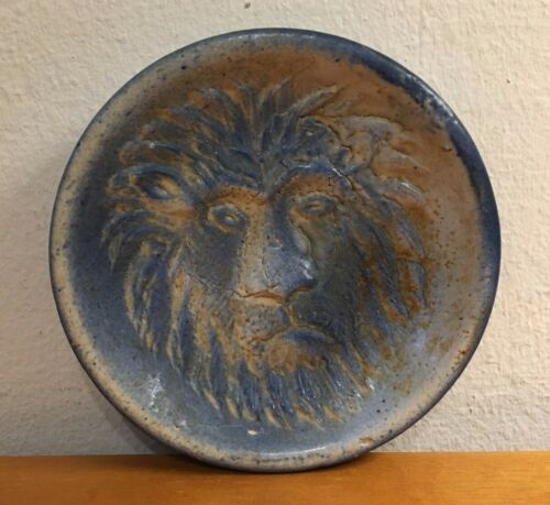 Old Antique Blue White Stoneware Pottery Soap Holder LION Buy It Now