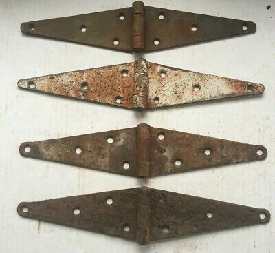 LOT OF 4 VINTAGE IRON STRAP HINGES BARN DOOR GATE ANTIQUE 12 1/4