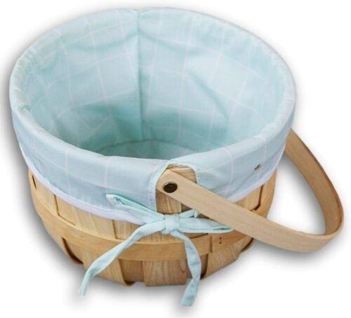 Lined Wood Nursery Basket with Swivel Mobile Handle